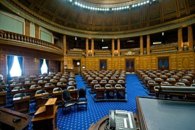 State house floor photo front view blue seats photo